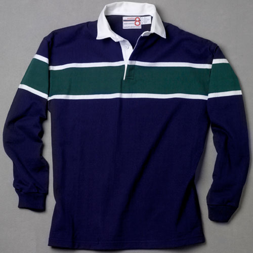 Navy With Green And White Rugby Shirt